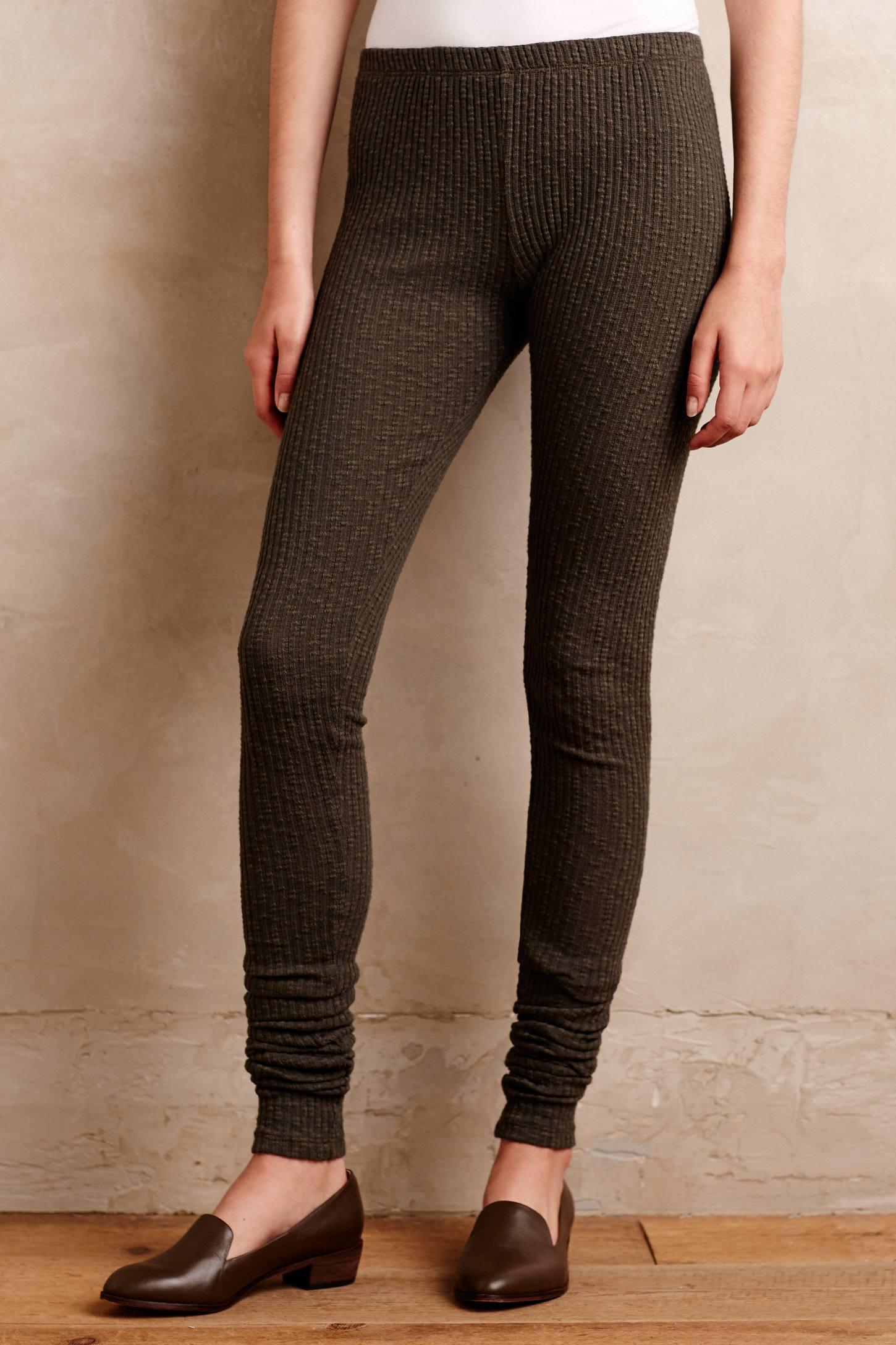 Everleigh Ribbed Sweaterknit Leggings in Green | Lyst