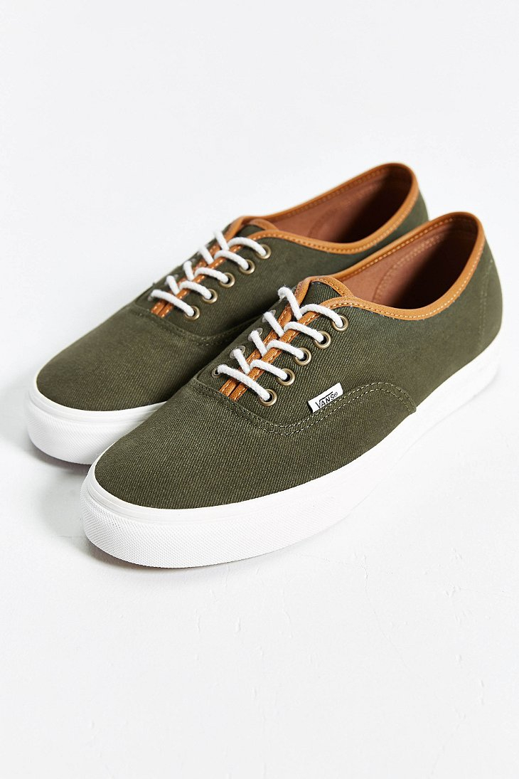 e3aae4ccd60762 Lyst - Vans Authentic Leather Trim Sneaker in Green for Men