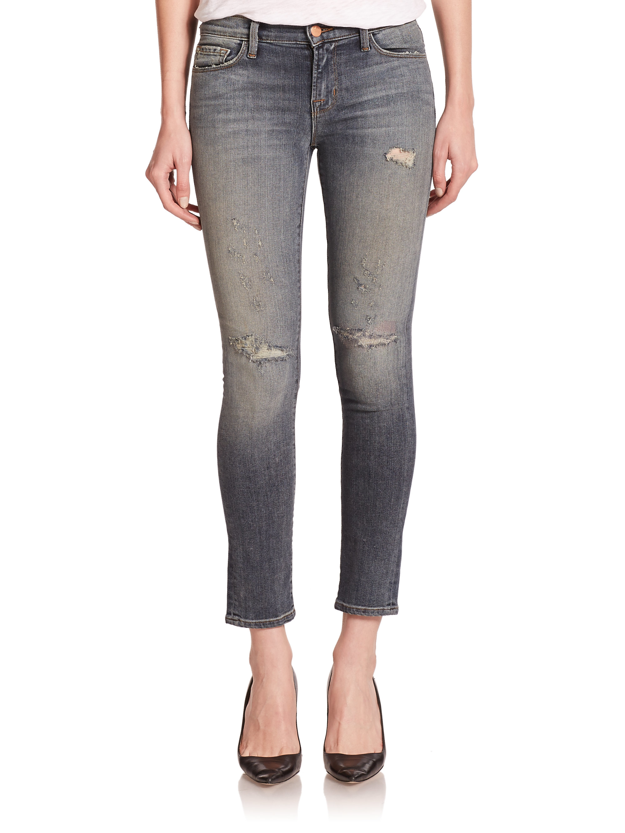 J brand 811 Mid-rise Distressed Skinny Jeans in Gray | Lyst