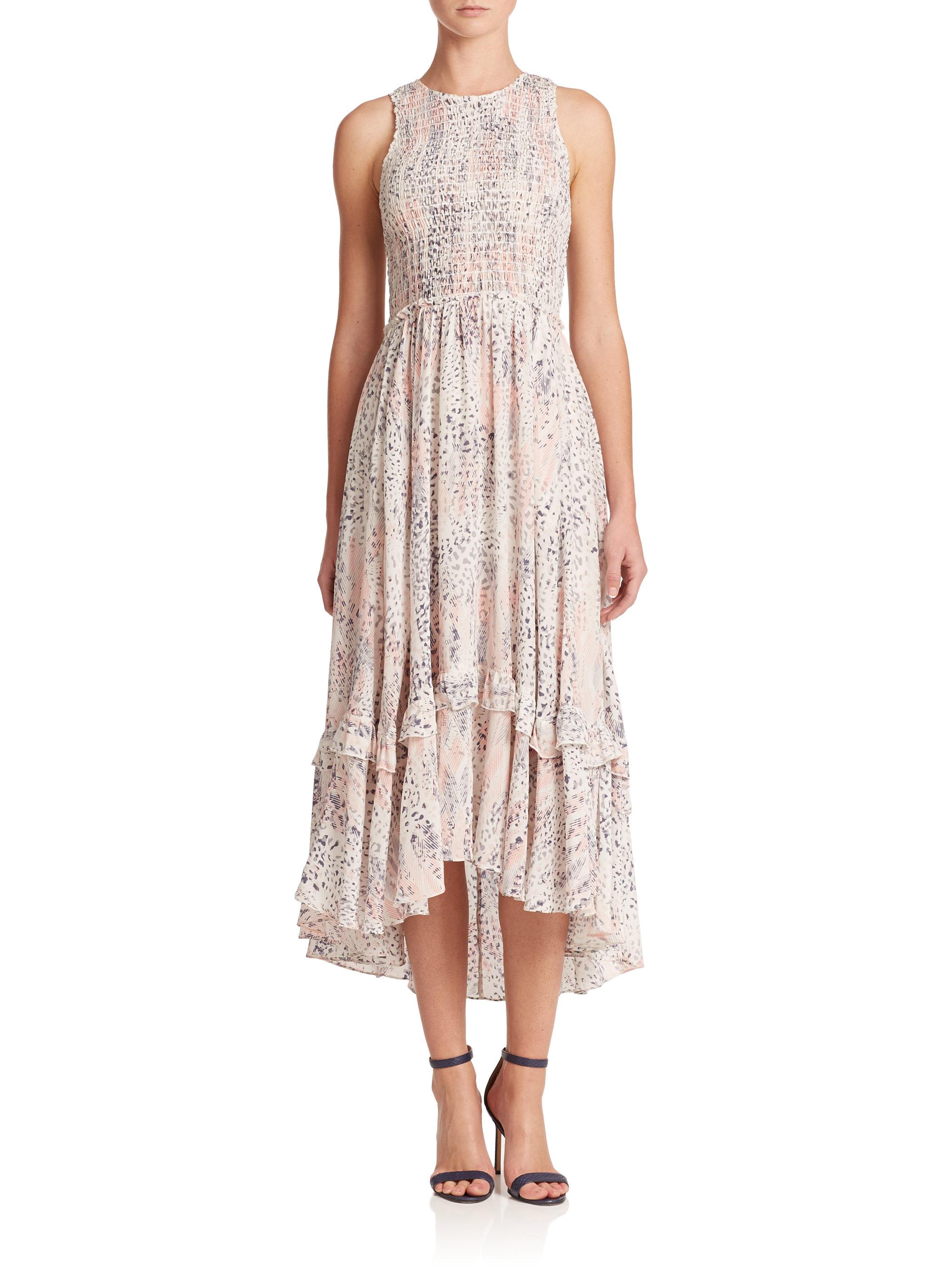 Lyst - Rebecca Taylor Sum Leo Silk Hi-lo Dress in Pink