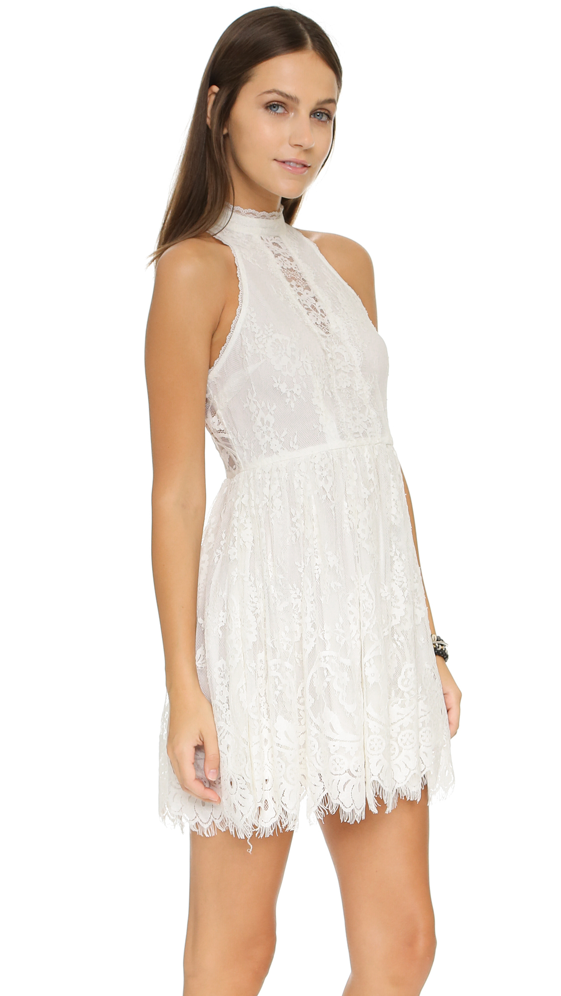 Free people Lace Verushka Mini Dress in White | Lyst