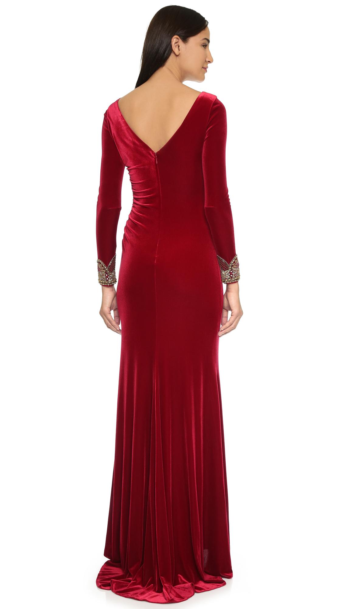 Badgley mischka Velvet Long Sleeve Dress - Crimson in Red  Lyst