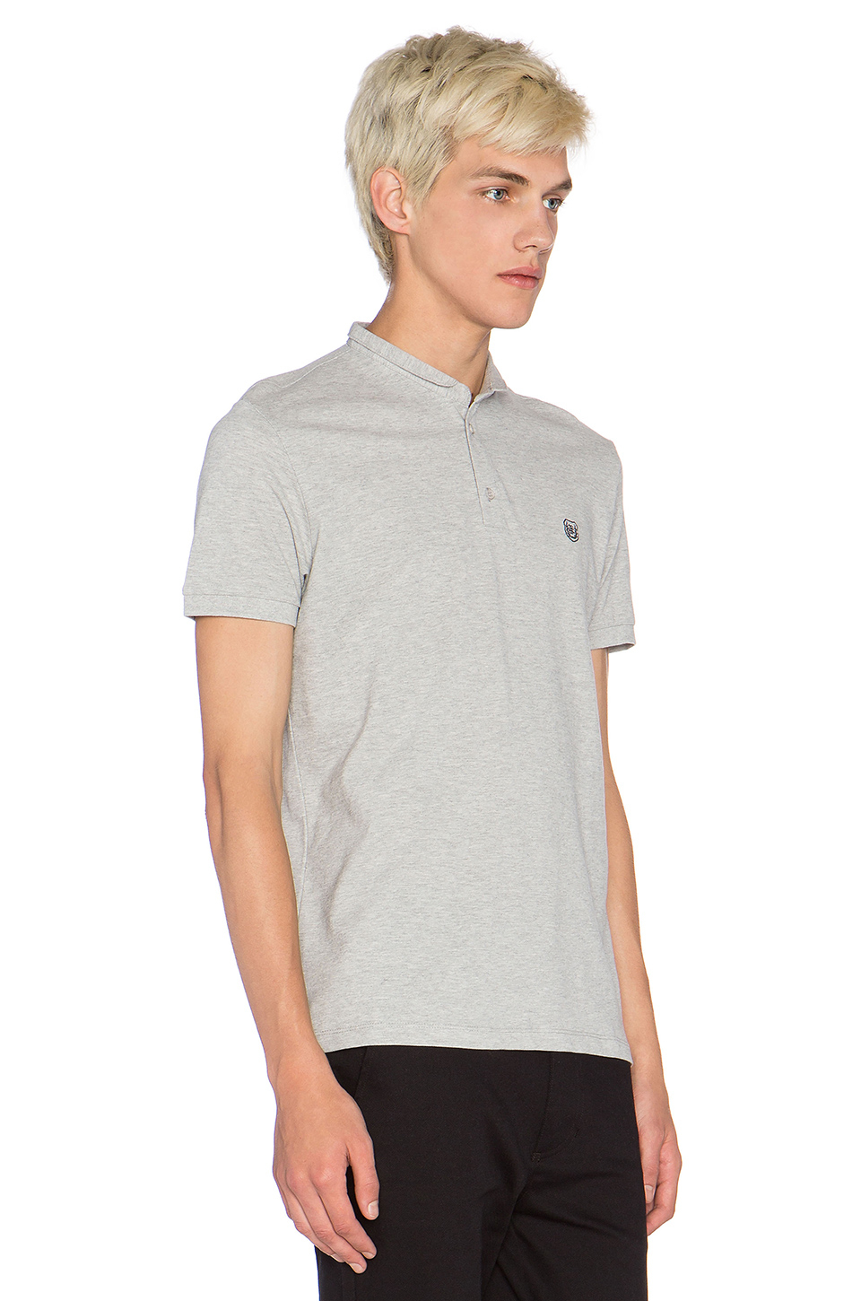 The kooples sport polo shirt with stand up collar in gray for Stiff collar polo shirt