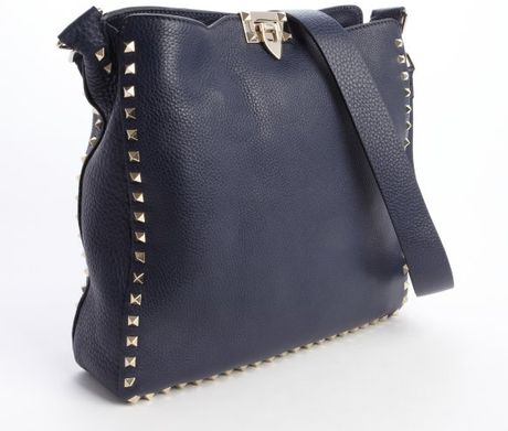 Valentino Navy Blue Leather Rockstud Shoulder Bag in Blue (navy)