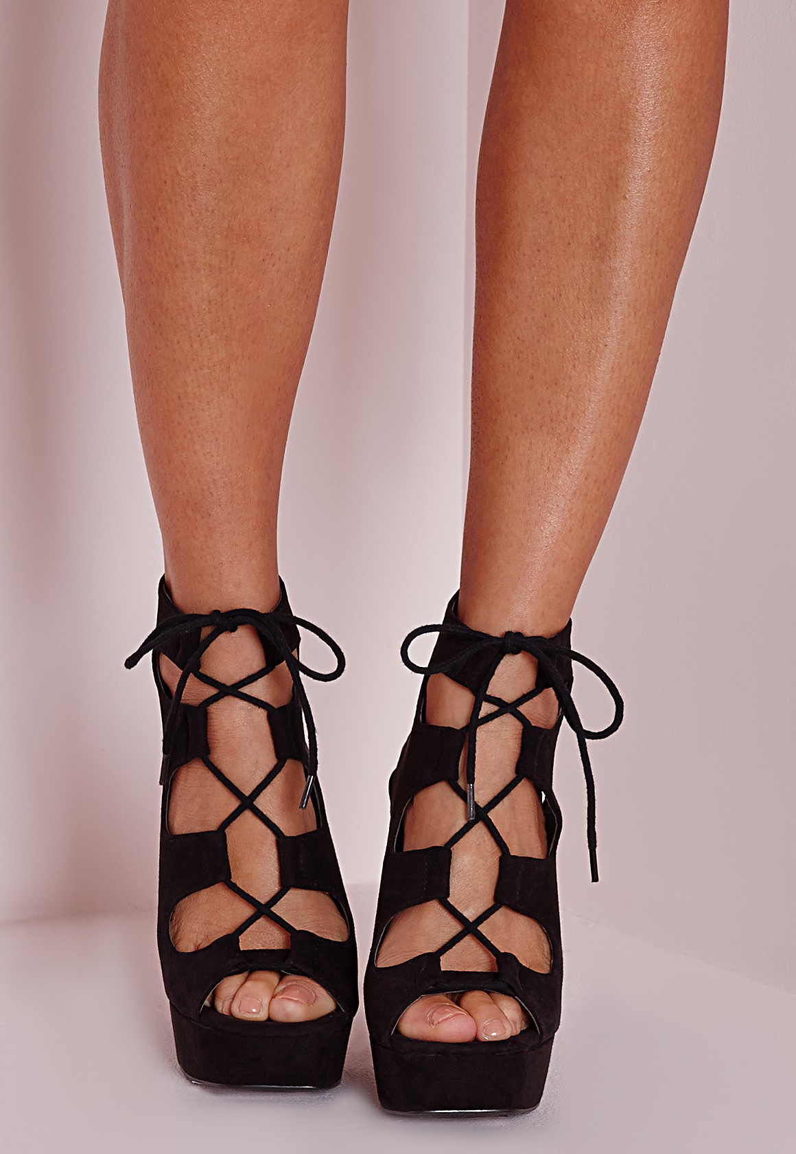 4e4f2d711caa Lyst - Missguided Lace Up 70 s Platform Sandals Black in Black