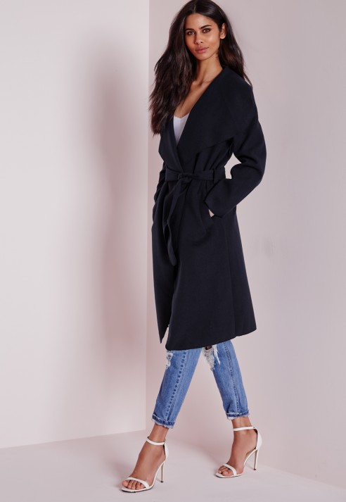 Missguided Waterfall Faux Wool Coat Long Length Navy in Blue | Lyst