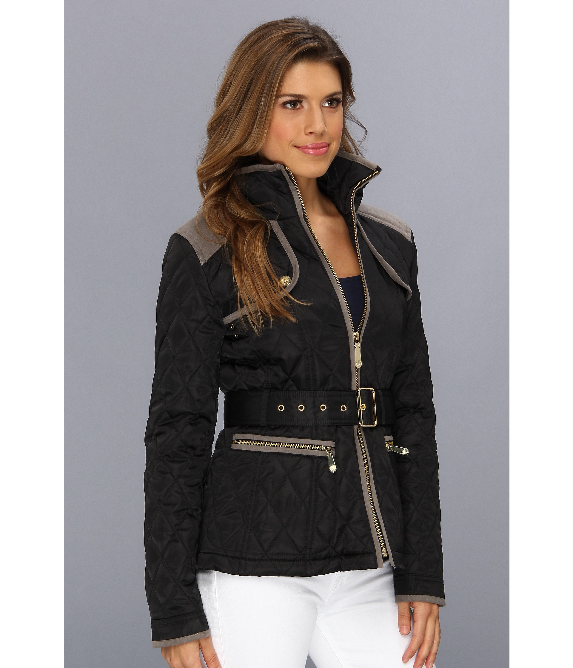 with quilt protection suede vince active pninqeo is coated waterresistant that poly performance c jackets a p coat quilted contrast for detail camuto crafted jacket shell and faux