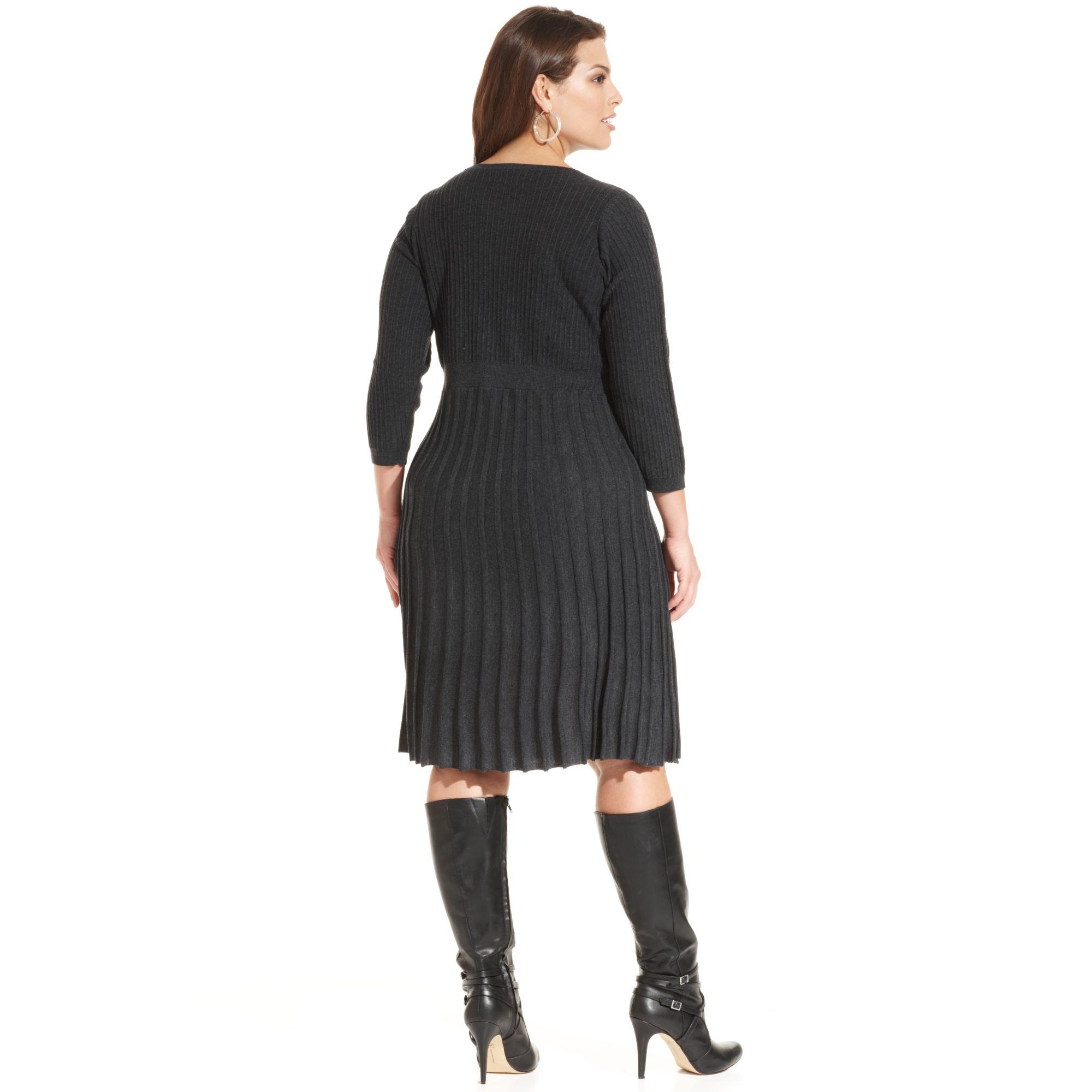 Lyst Calvin Klein Pleated Sweater Dress In Black