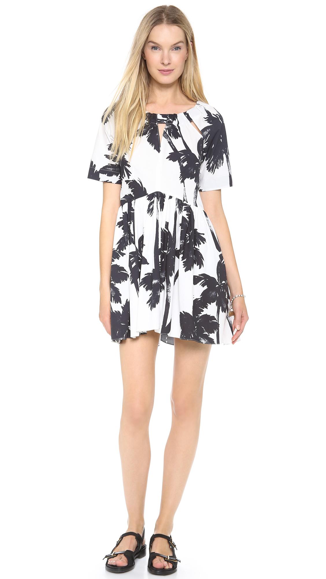 Moschino Cheap And Chic Short Sleeve Dress Whiteblack In