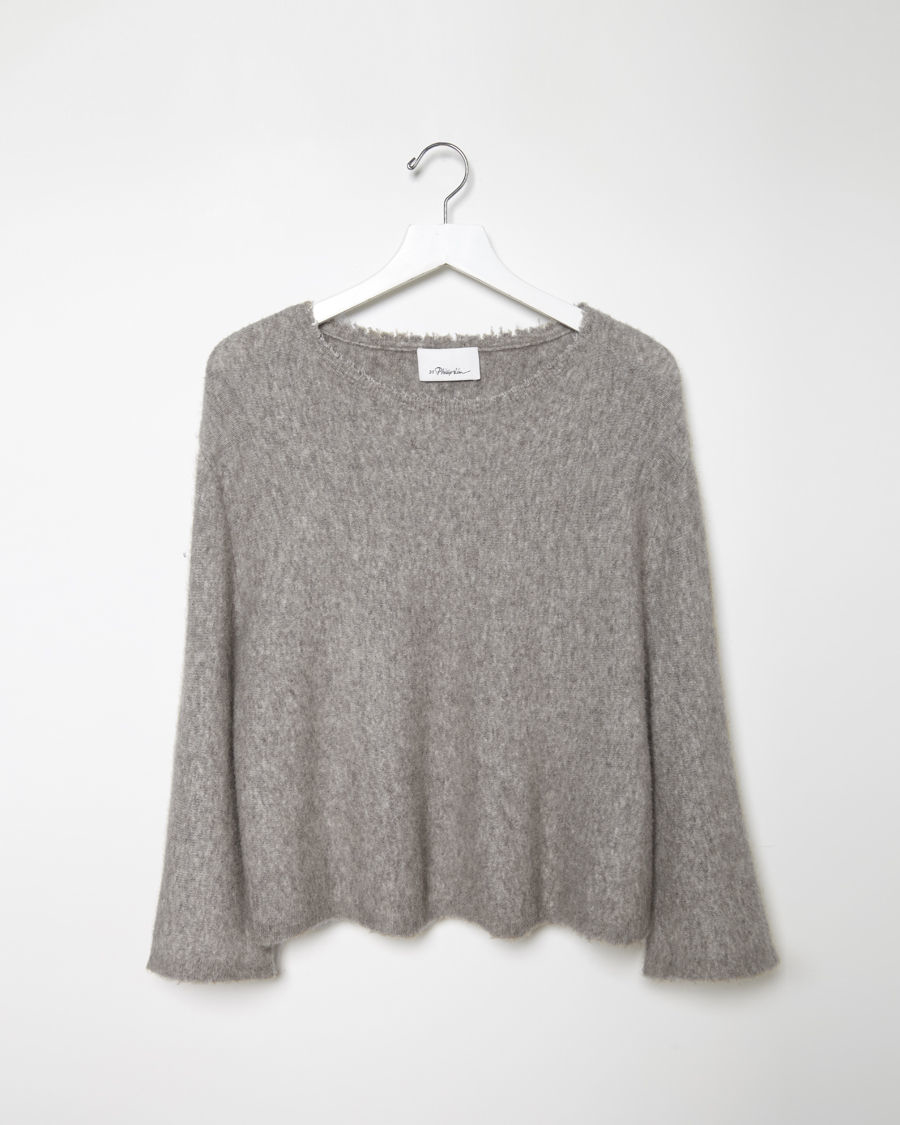3.1 phillip lim Cropped Boxy Pullover in Gray | Lyst