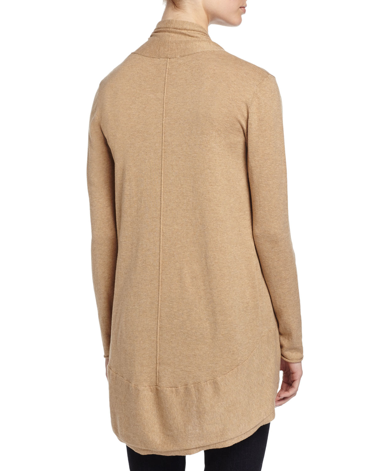 Neiman marcus Long-sleeve Knit Cocoon Cardigan in Brown | Lyst