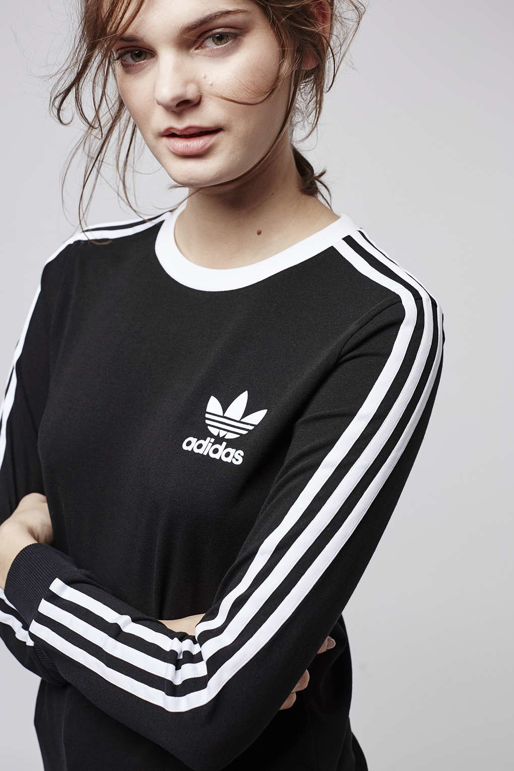 Lyst - TOPSHOP Three Stripe Long Sleeve Top Adidas Originals in Black 42339cc164