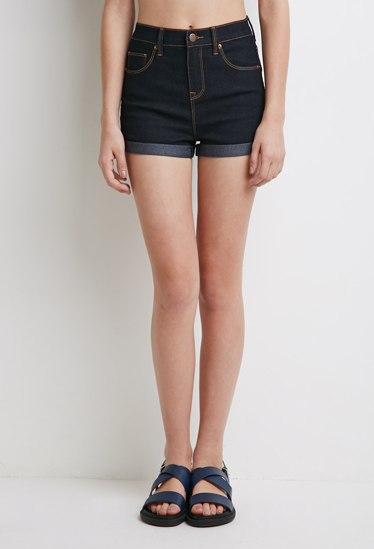 ce5582930 ... Forever 21 High-waist Cuffed Denim Shorts in Blue | Lyst Forever 21  High Waisted ...