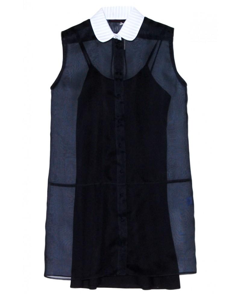 Harvey faircloth white collar shirt dress in black white lyst