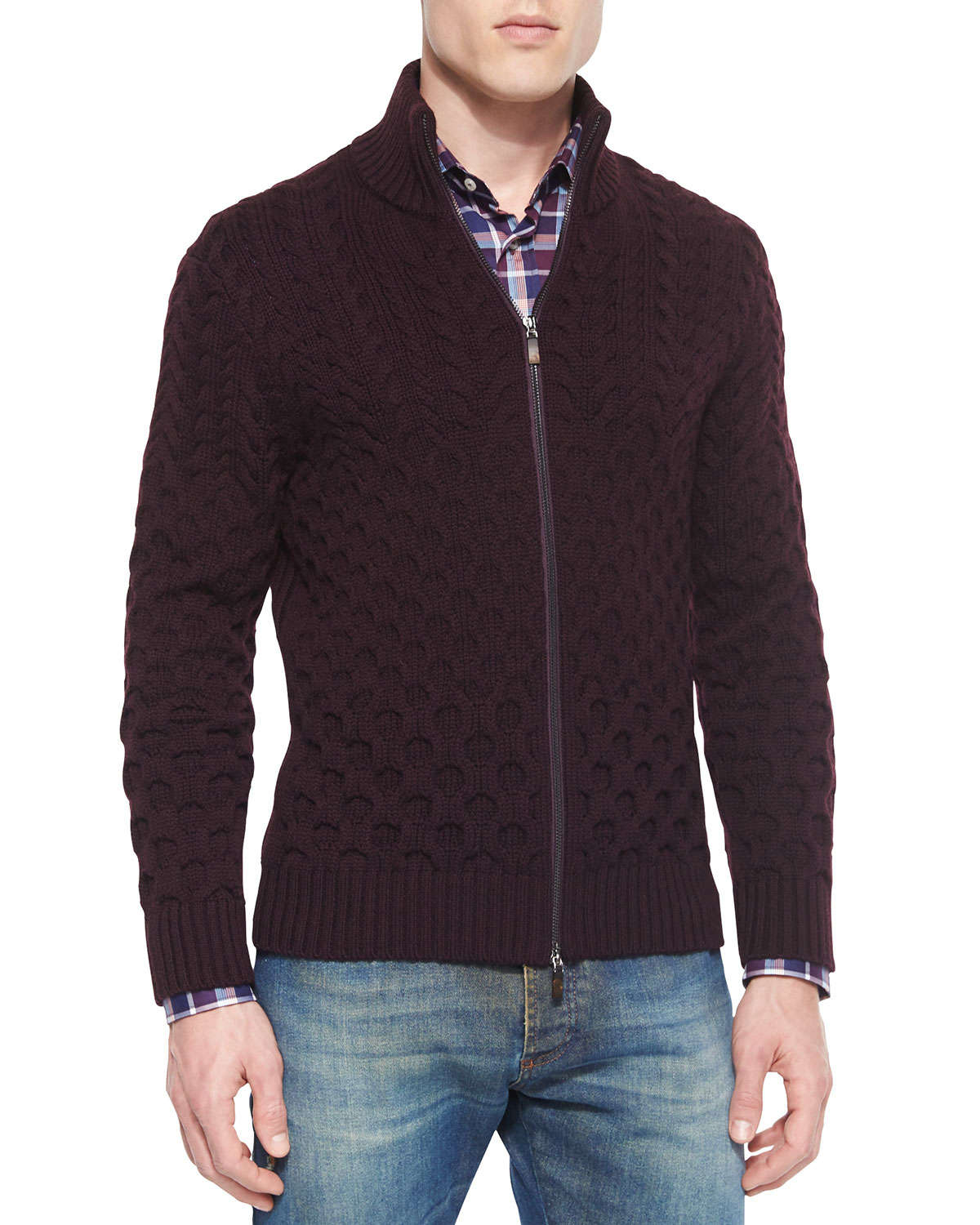 Etro Wool Cable-knit Full-zip Cardigan in Black for Men | Lyst