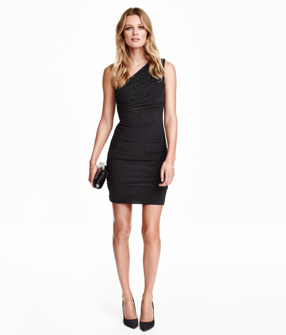 36a392e5d2898 Lyst - H M Draped One-shoulder Dress in Black