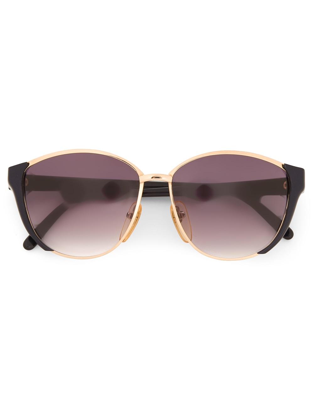 Vintage Round Gold Frame Sunglasses : Valentino Vintage Round Frame Sunglasses in Gold (black ...