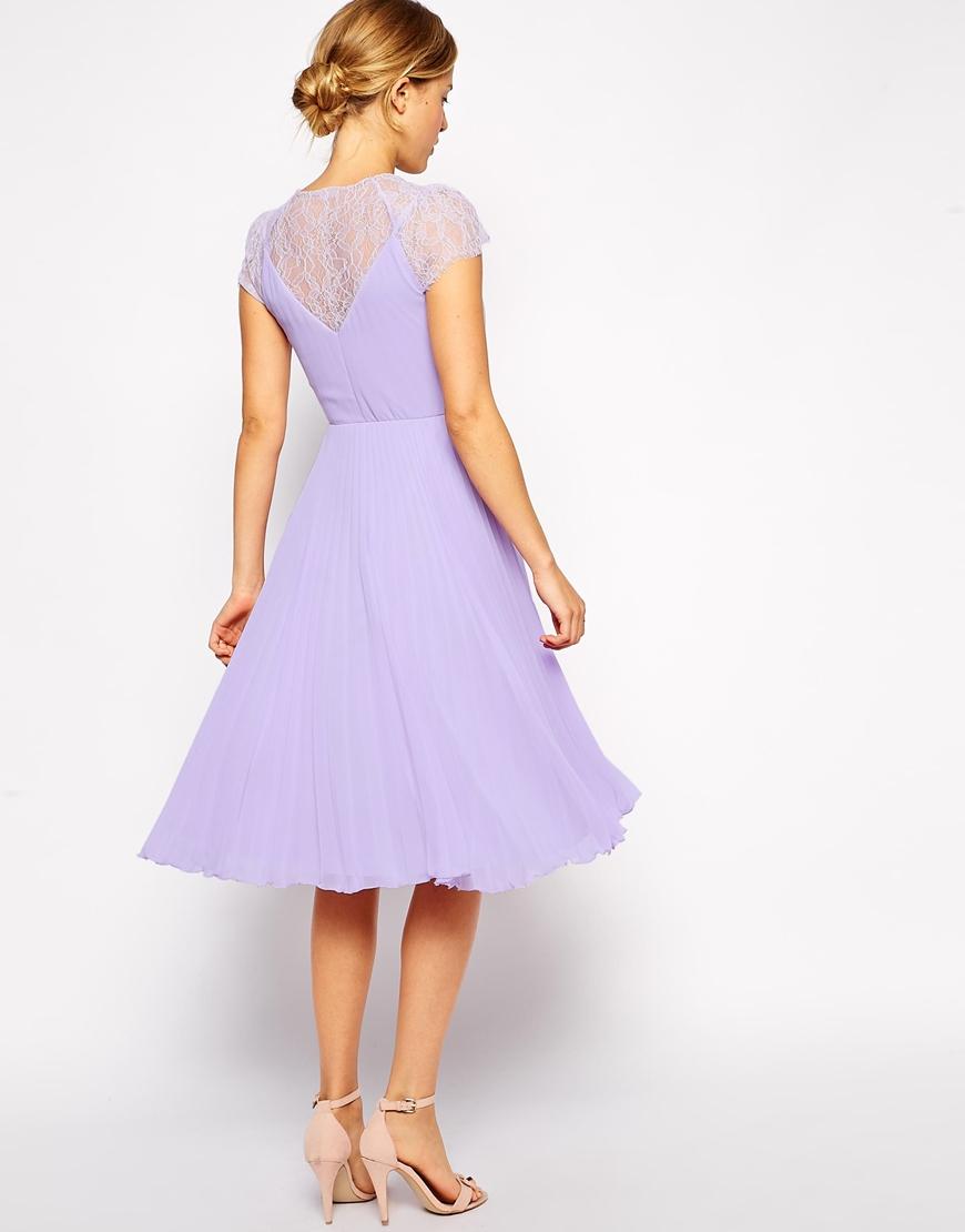 Lyst - Asos Lace Insert Pleated Midi Dress in Purple