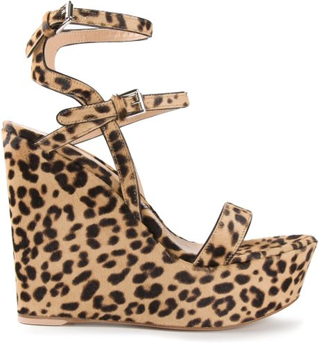 gianvito leopard print wedge sandals in animal