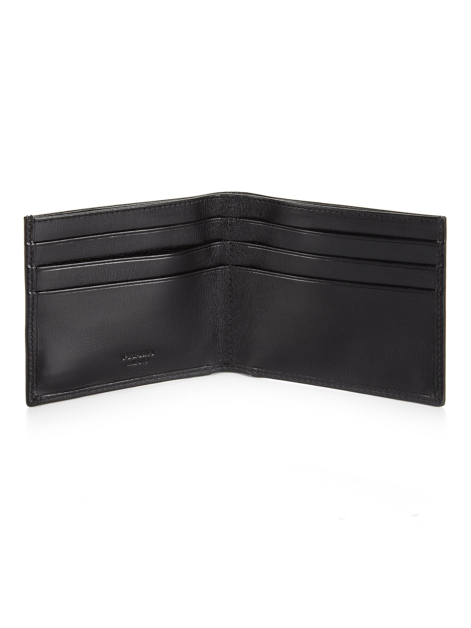 Prada Box Calf Bifold Wallet in Black for Men | Lyst