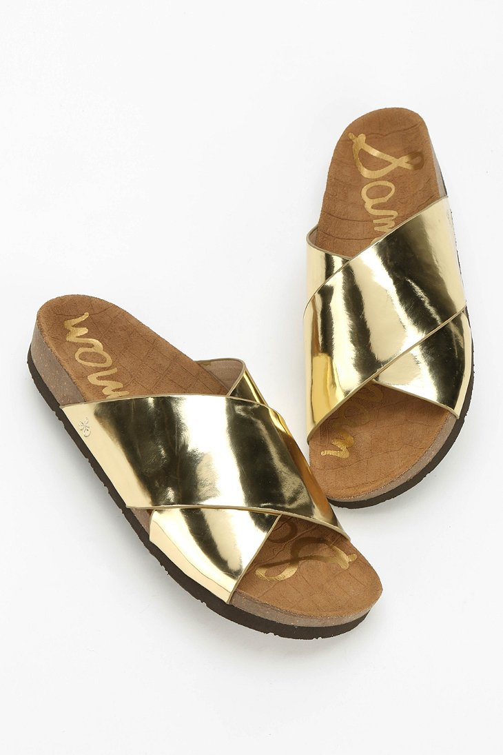 Sam Edelman Adora Metallic Slide Sandal In Metallic Lyst