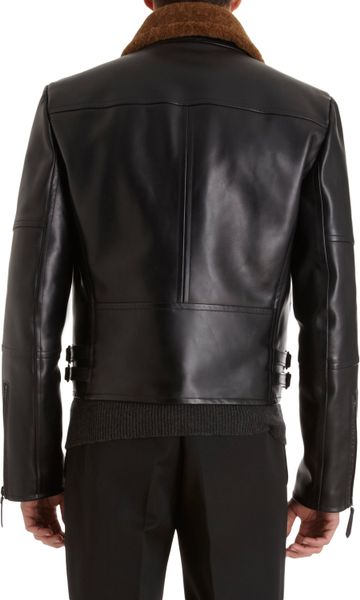 Burberry Prorsum Shearling Lined Moto Jacket In Black For
