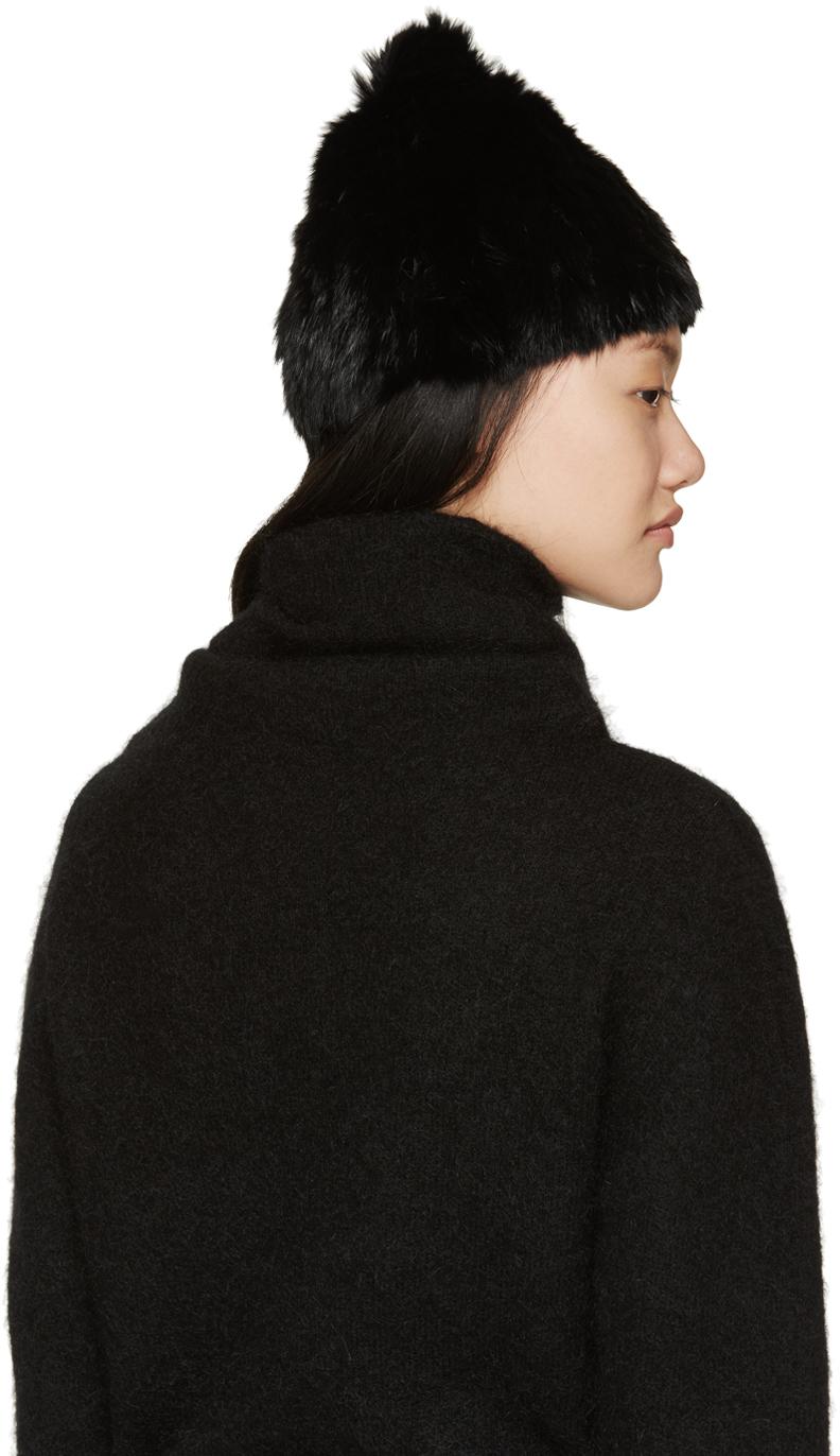 Lyst - Meteo by Yves Salomon Black Knitted Rabbit Fur Toque in Black 3e84d308140d