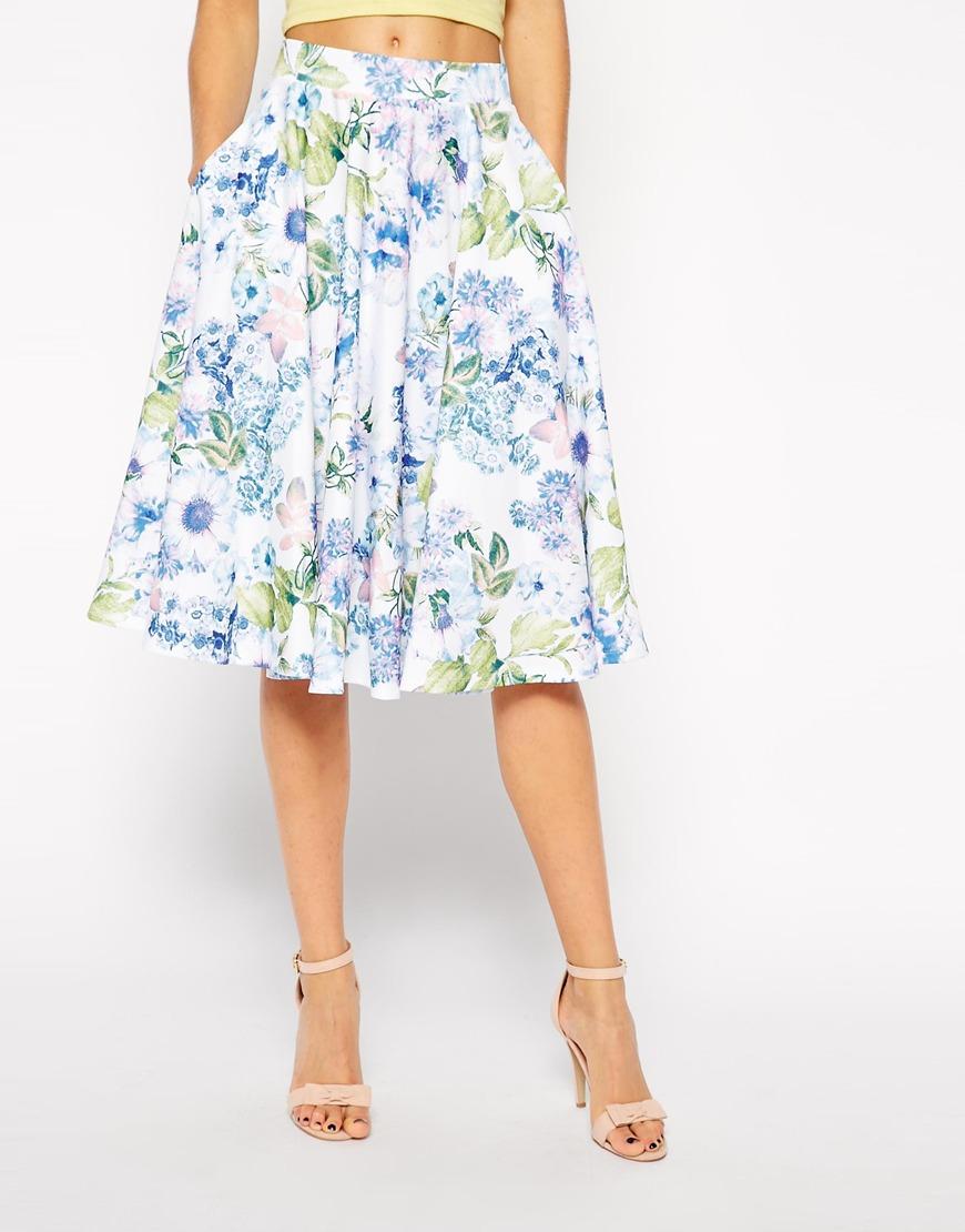 d1318c9c0 ASOS Midi Scuba Skirt In Floral Print in White - Lyst
