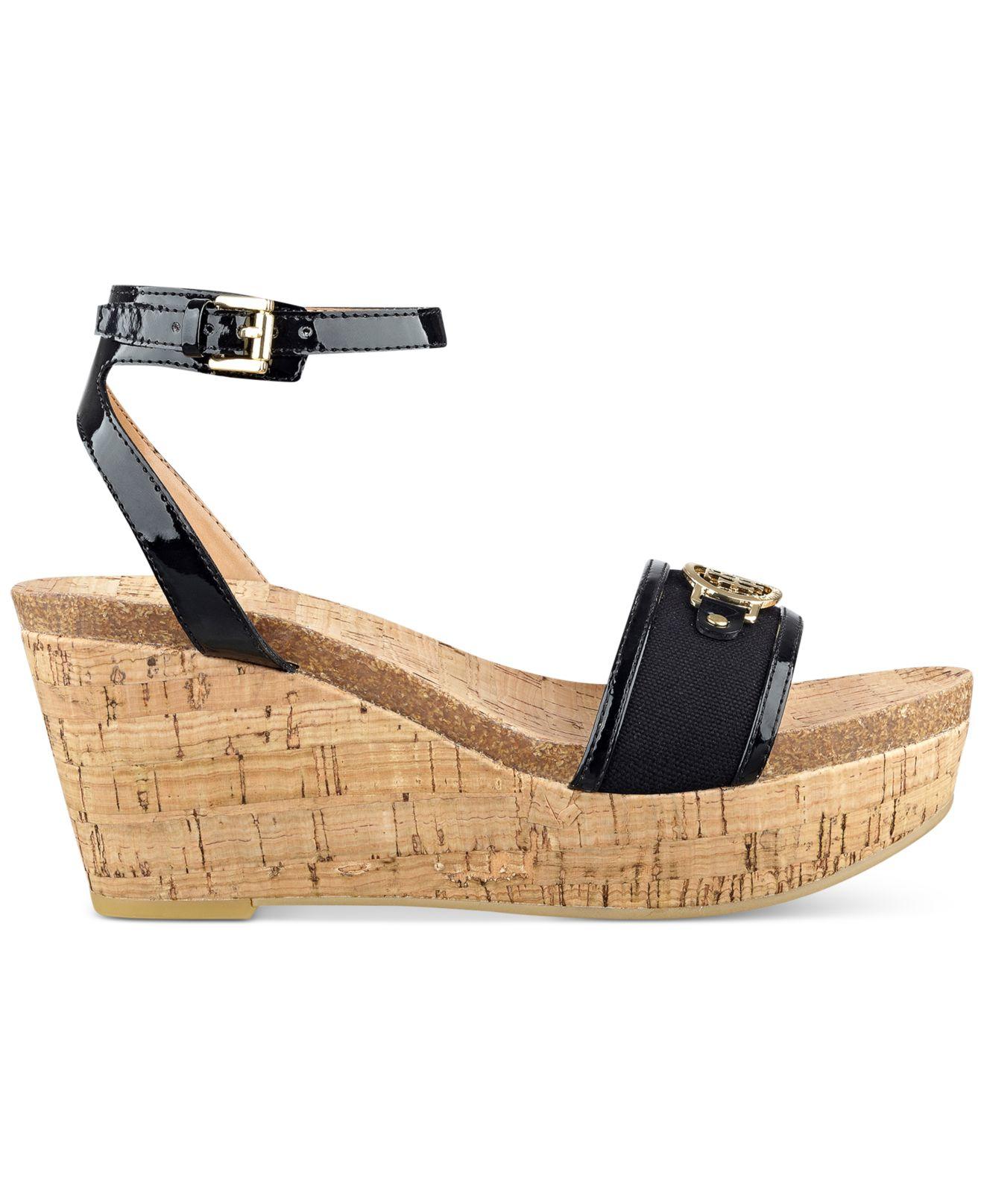 922776449f54ff Lyst - Tommy Hilfiger Hesley Platform Wedge Sandals in Black