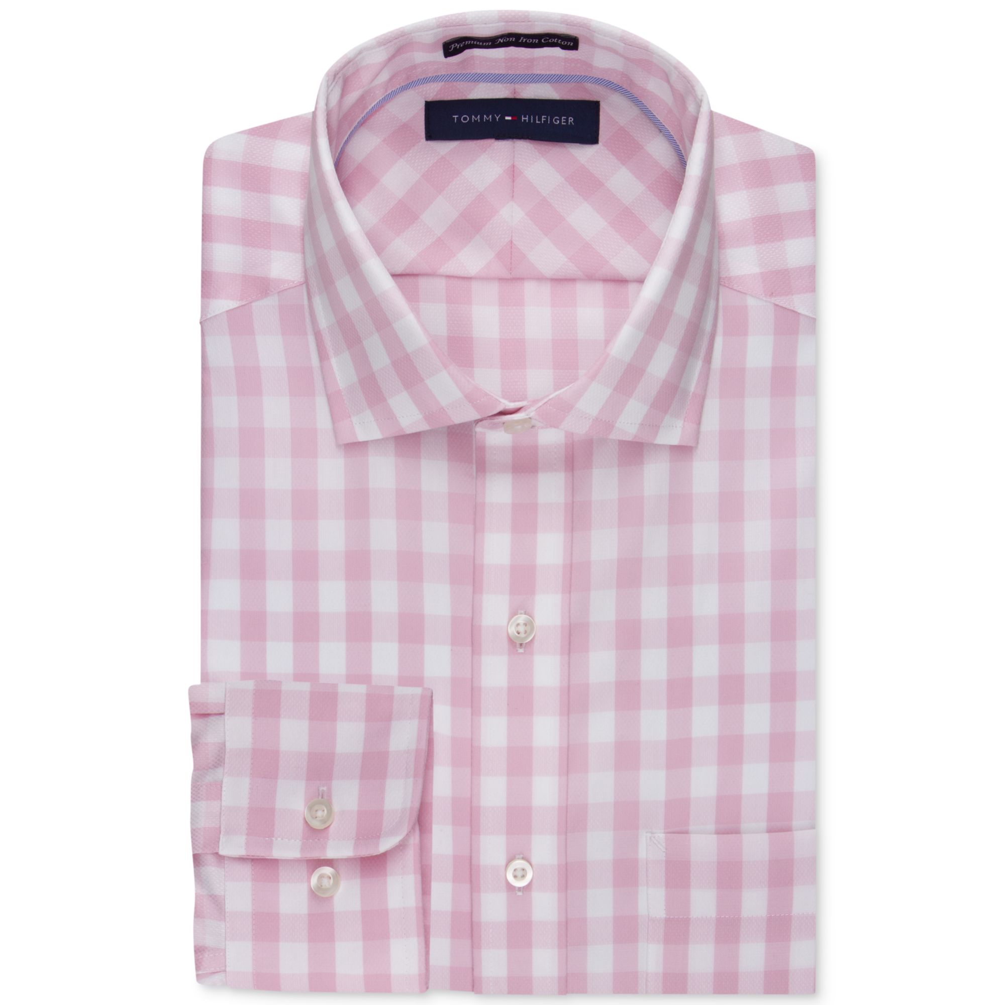 Tommy hilfiger no iron pink and white bold check dress for No iron dress shirts for men
