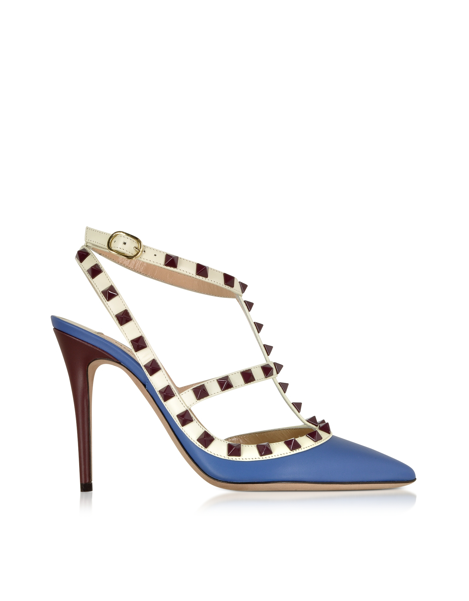 aaabc38ee2e Lyst - Valentino Rockstud Indaco Leather Slingback Pump in Blue