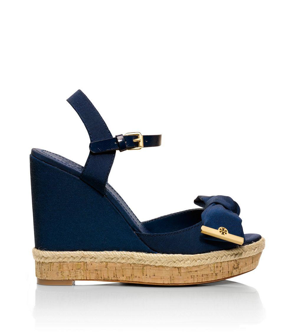 1803ef8066bbc ... norway tory burch penny wedge sandal in blue lyst 1b1ad 109ff