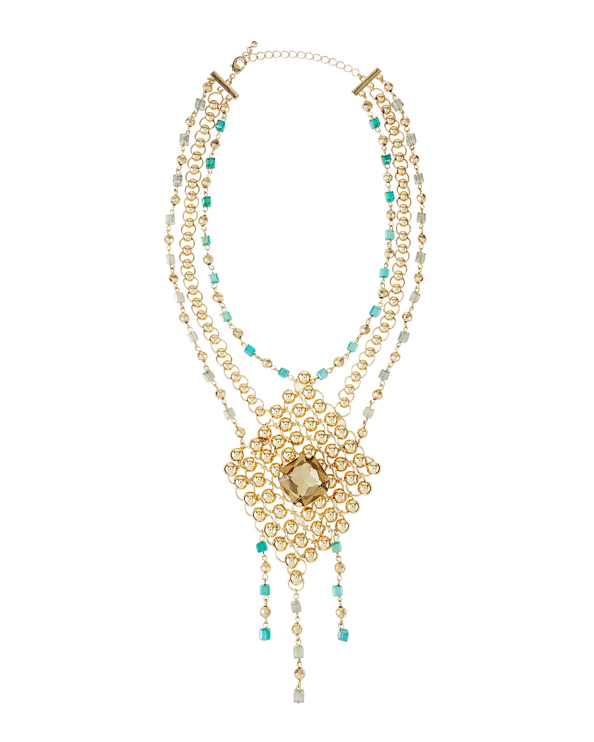 fragments beaded shape mesh necklace in