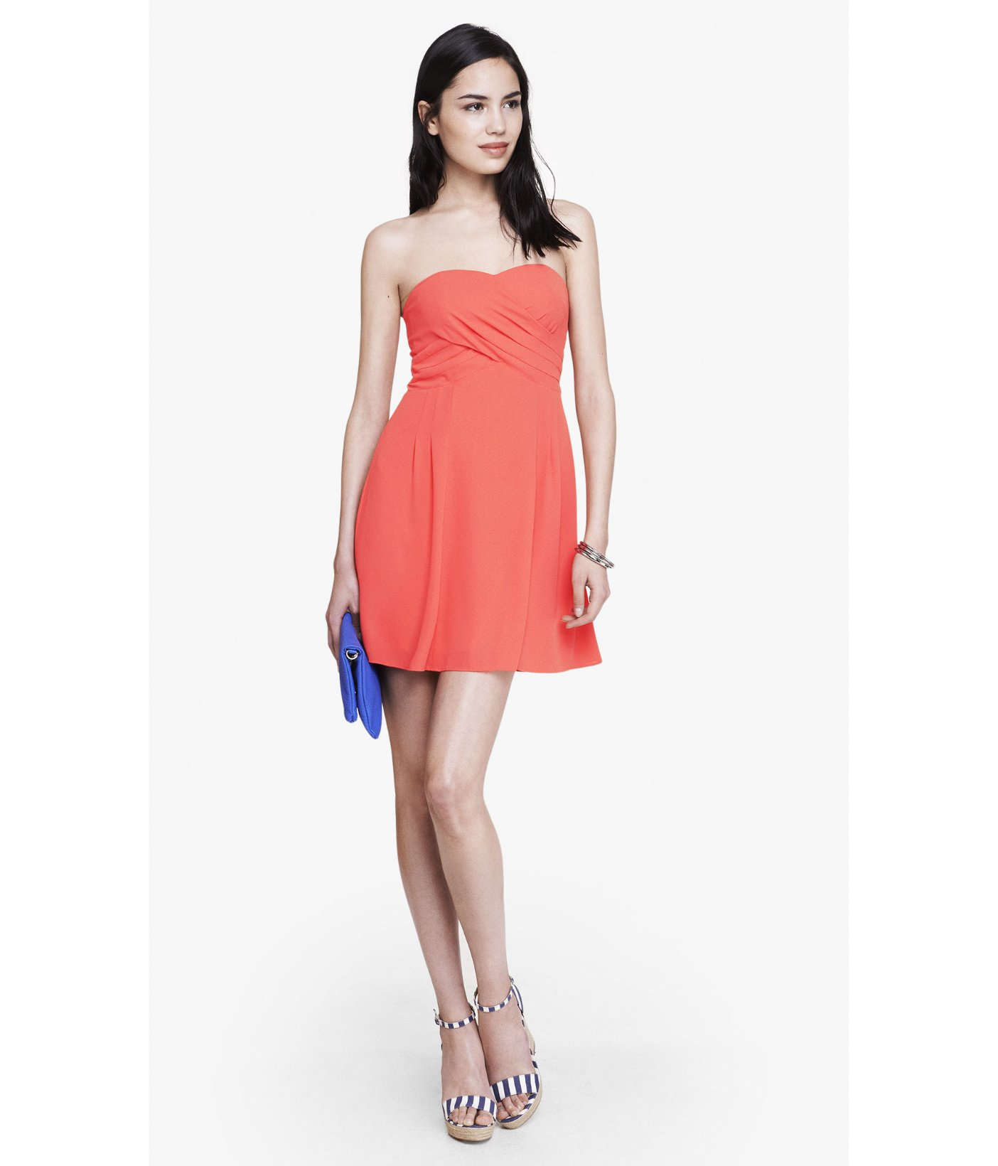 Express Coral Strapless Crepe Fit And Flare Dress in Red | Lyst