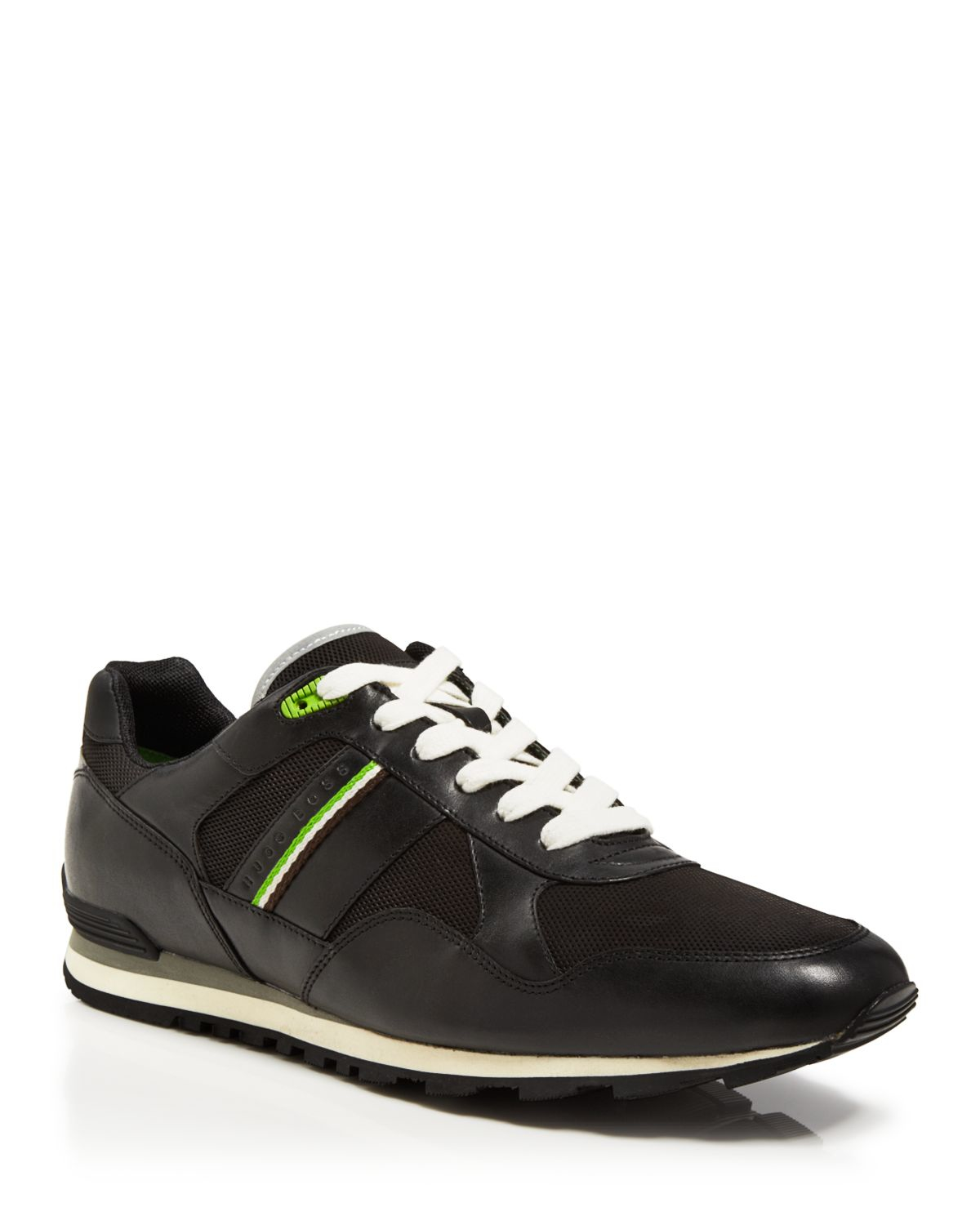 lyst boss boss green runcool perforated sneakers in black for men. Black Bedroom Furniture Sets. Home Design Ideas