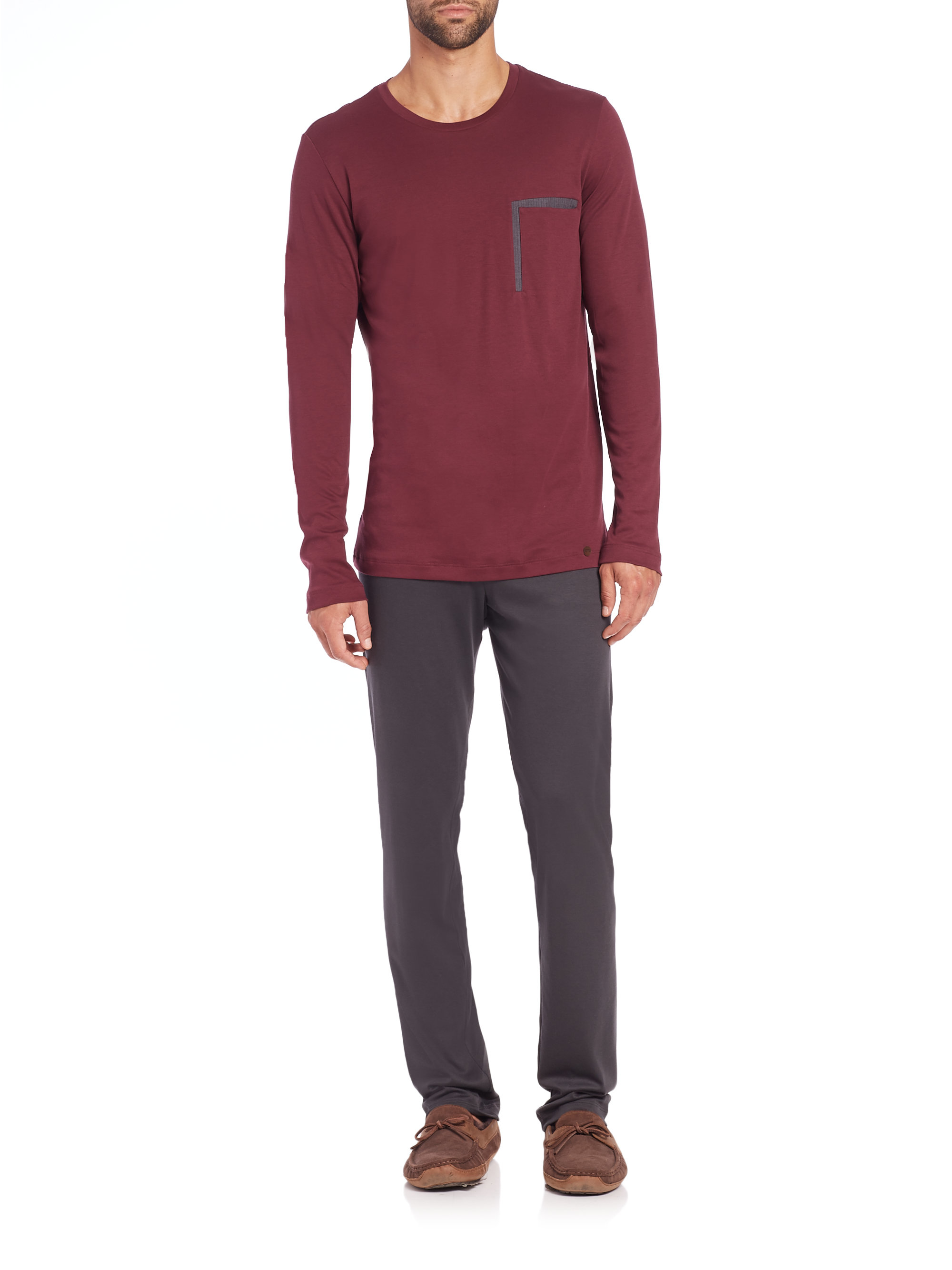 Hanro Modern Cotton Pajama Set in Red for Men