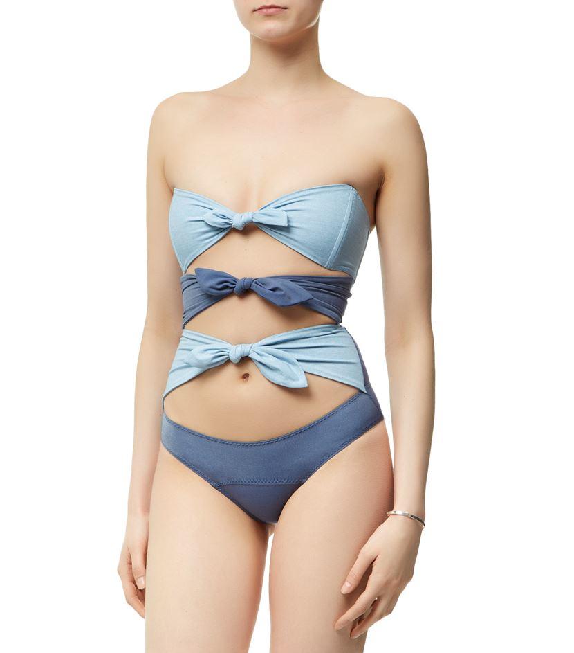 12ce25a425220 Lisa Marie Fernandez Triple Poppy Denim Swimsuit in Blue - Lyst
