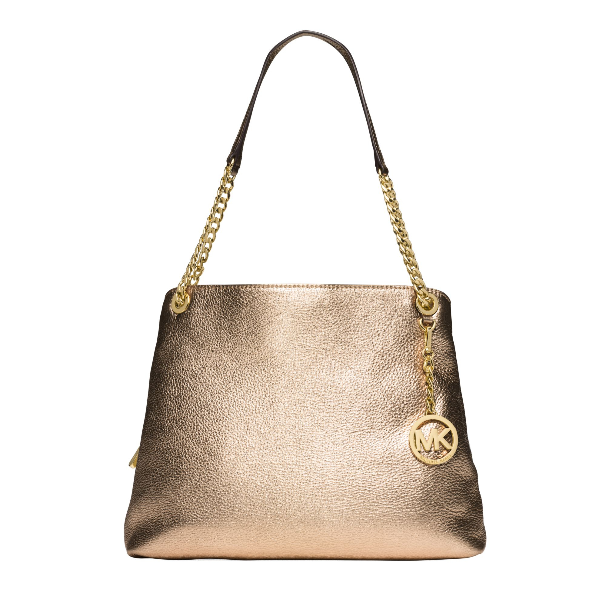 a67cf51b7447 ... discount code for lyst michael kors jet set large metallic leather shoulder  bag in 4f143 6f447