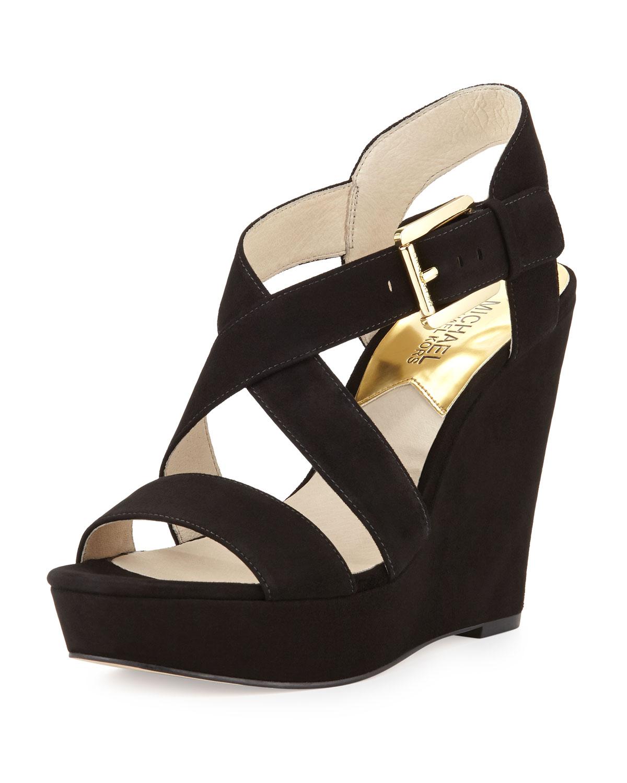 442fb5cbe8e Lyst - MICHAEL Michael Kors Giovanna Suede Wedge Sandal in Black
