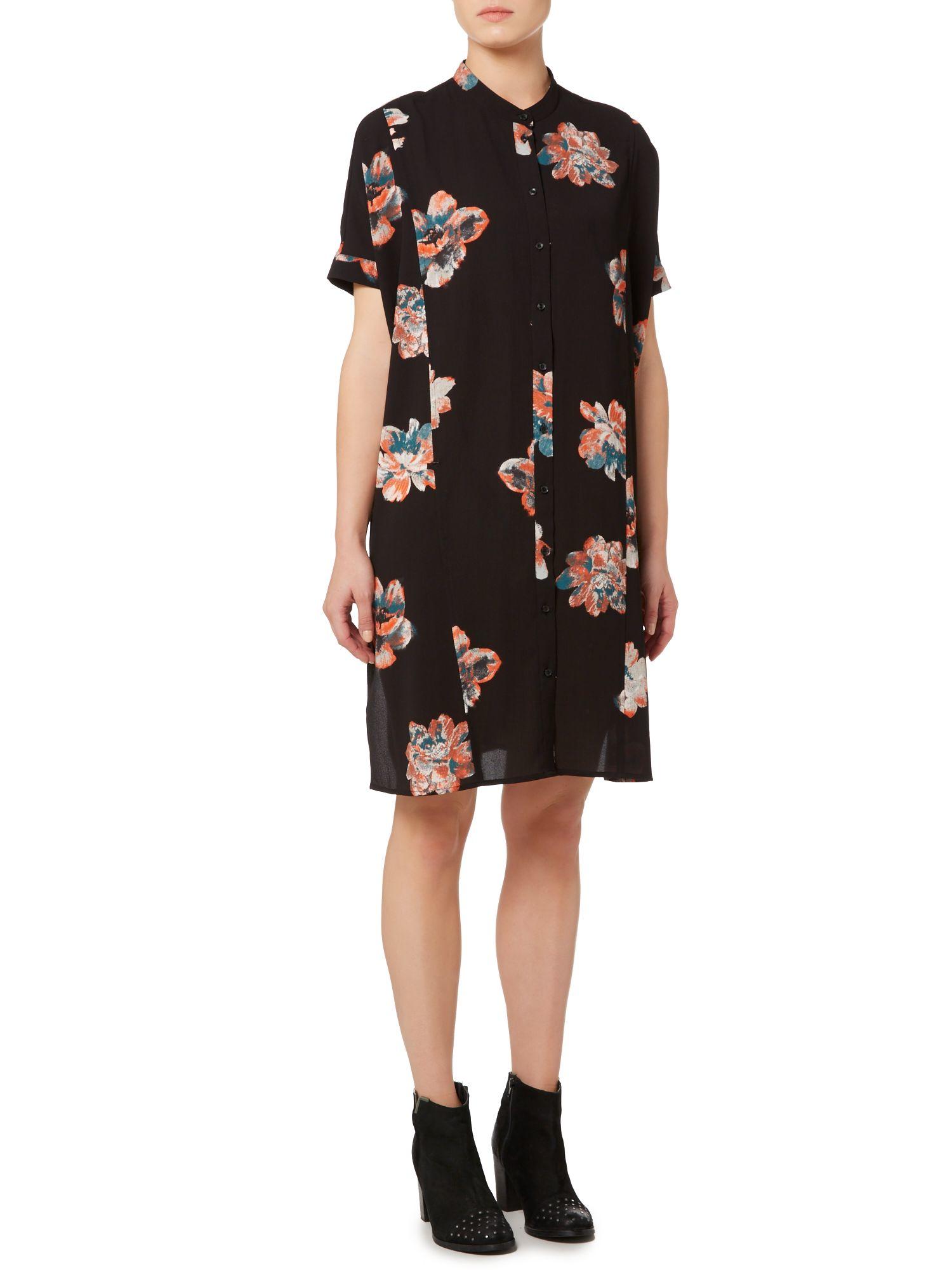 Vila Floral Print Shirt Dress In Black Lyst