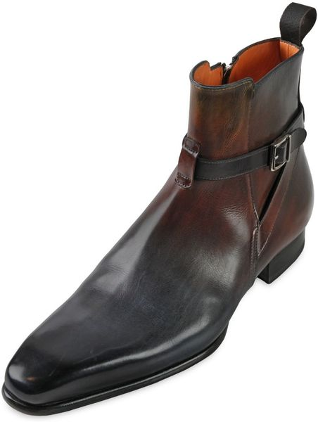 Santoni Hand Painted Leather Ankle Boots In Brown For Men
