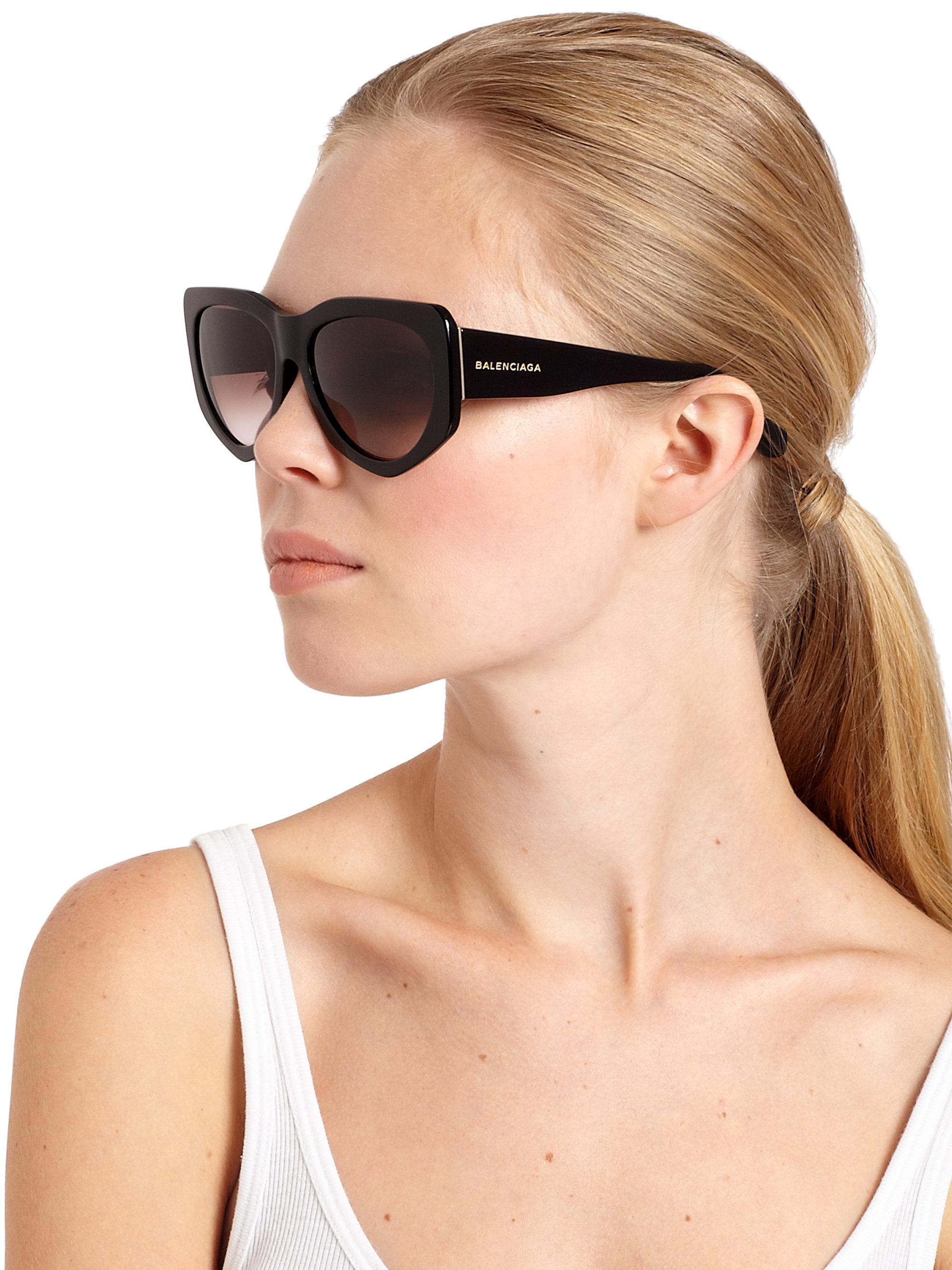 Lyst Balenciaga 58mm Angular Round Sunglasses In Black