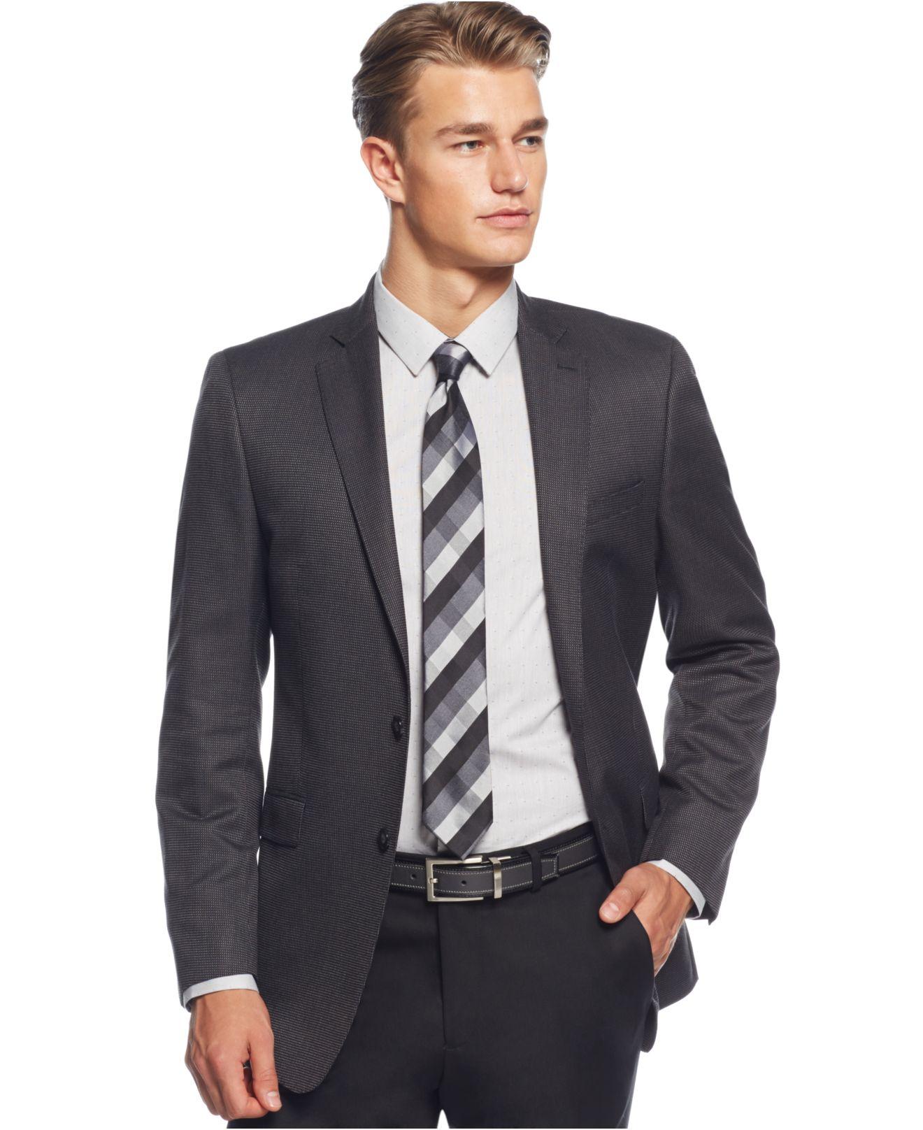 calvin klein black and grey pindot slim fit sport coat in. Black Bedroom Furniture Sets. Home Design Ideas