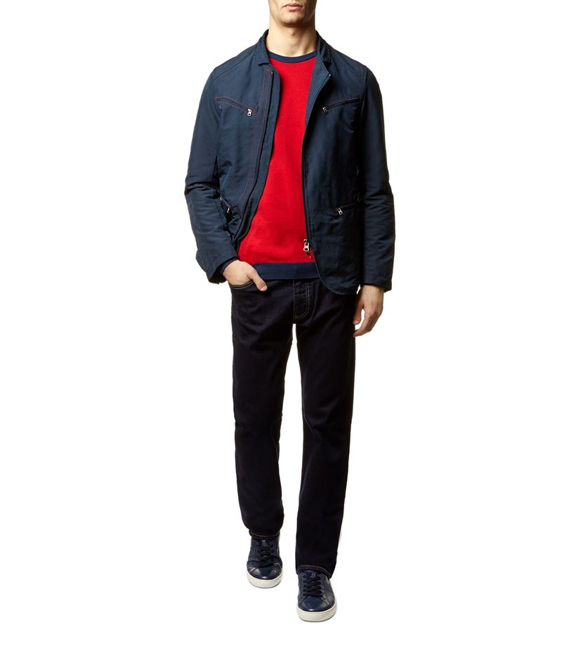 armani contrast stitch jacket in blue for lyst