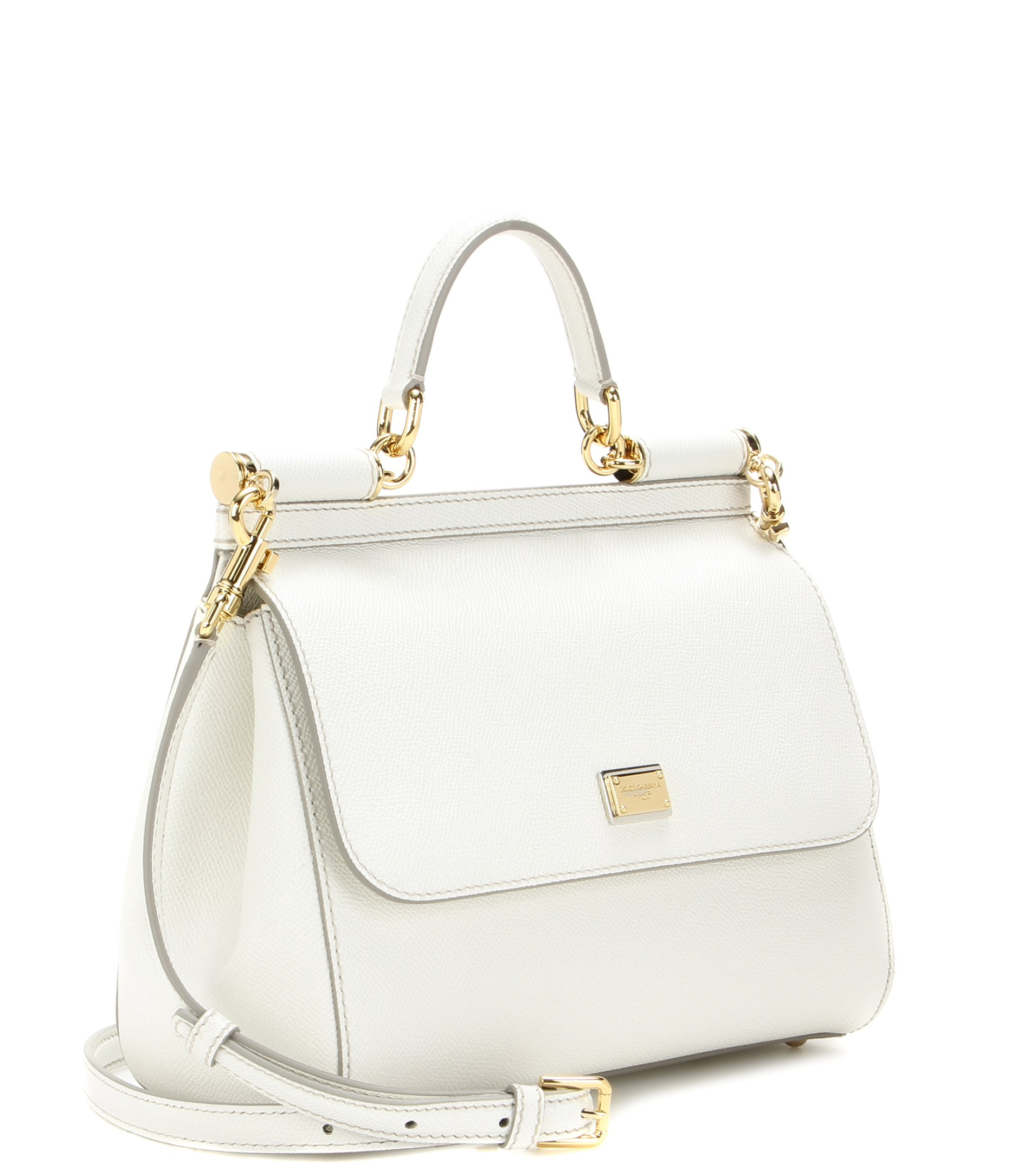 Lyst - Dolce   Gabbana Miss Sicily Medium Leather Shoulder Bag in White 92d53b22b67c5