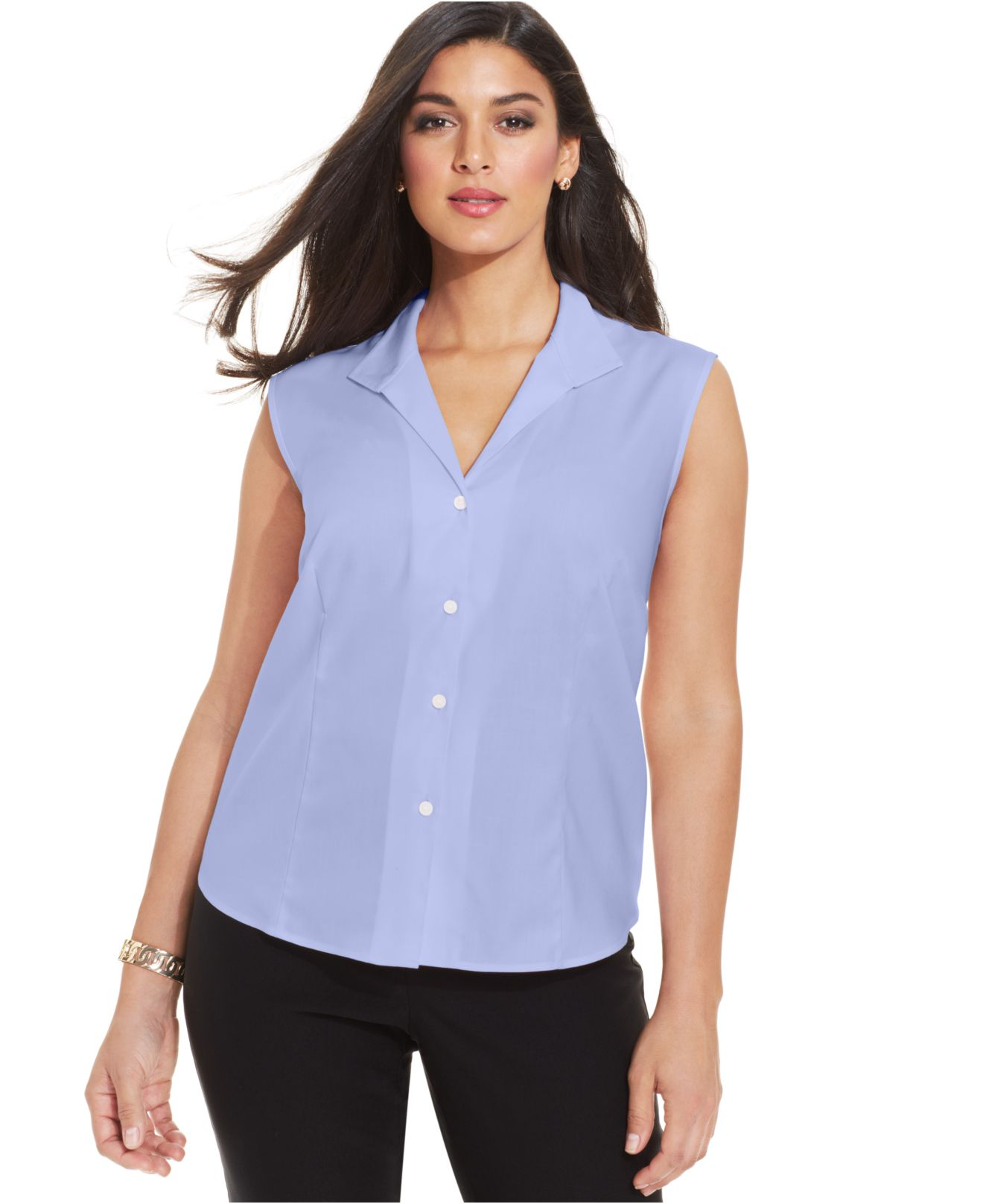Jones new york collection plus size easy care sleeveless for Plus size light blue shirt