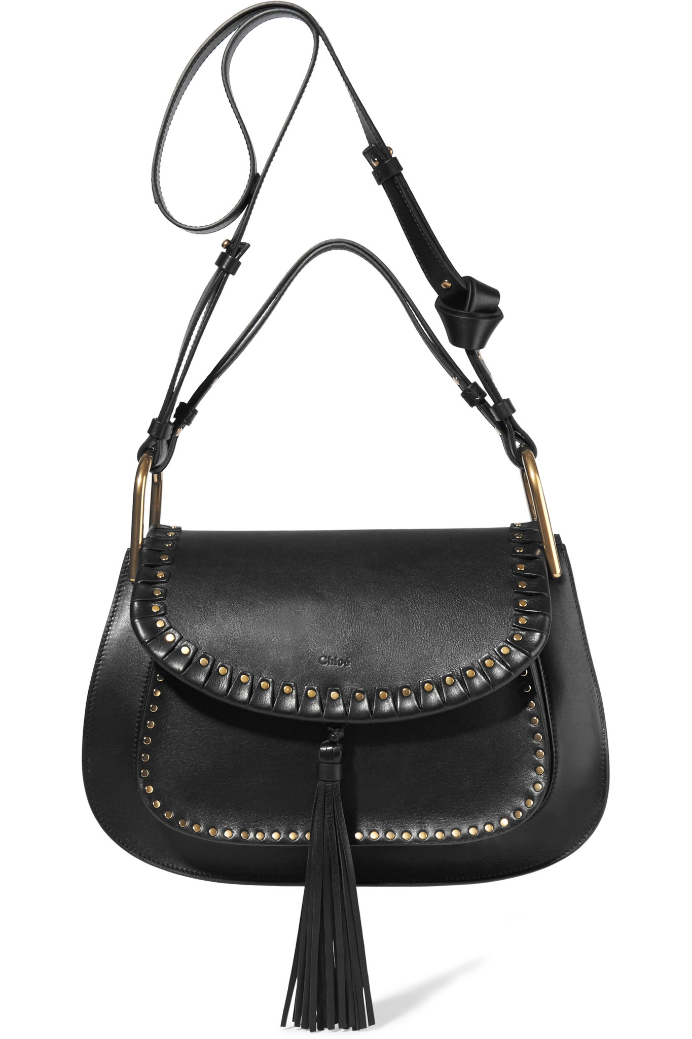 chlo chlo hudson medium studded leather shoulder bag in black lyst. Black Bedroom Furniture Sets. Home Design Ideas