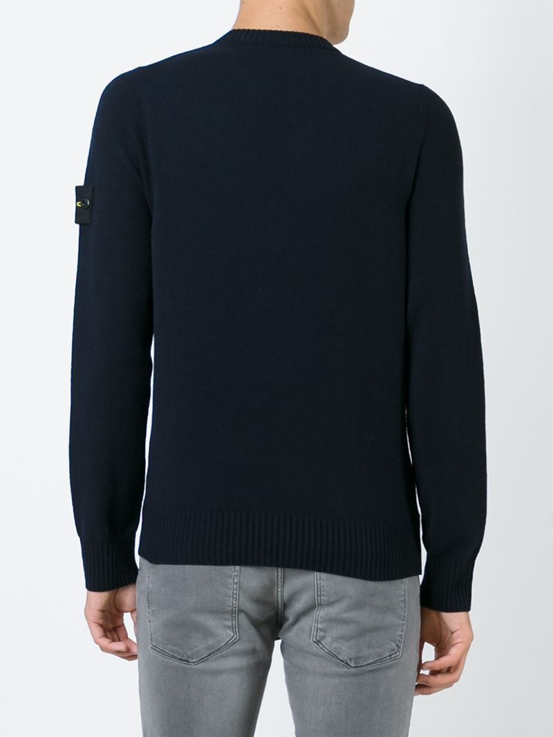 Stone island Crew Neck Sweater in Blue for Men - Lyst
