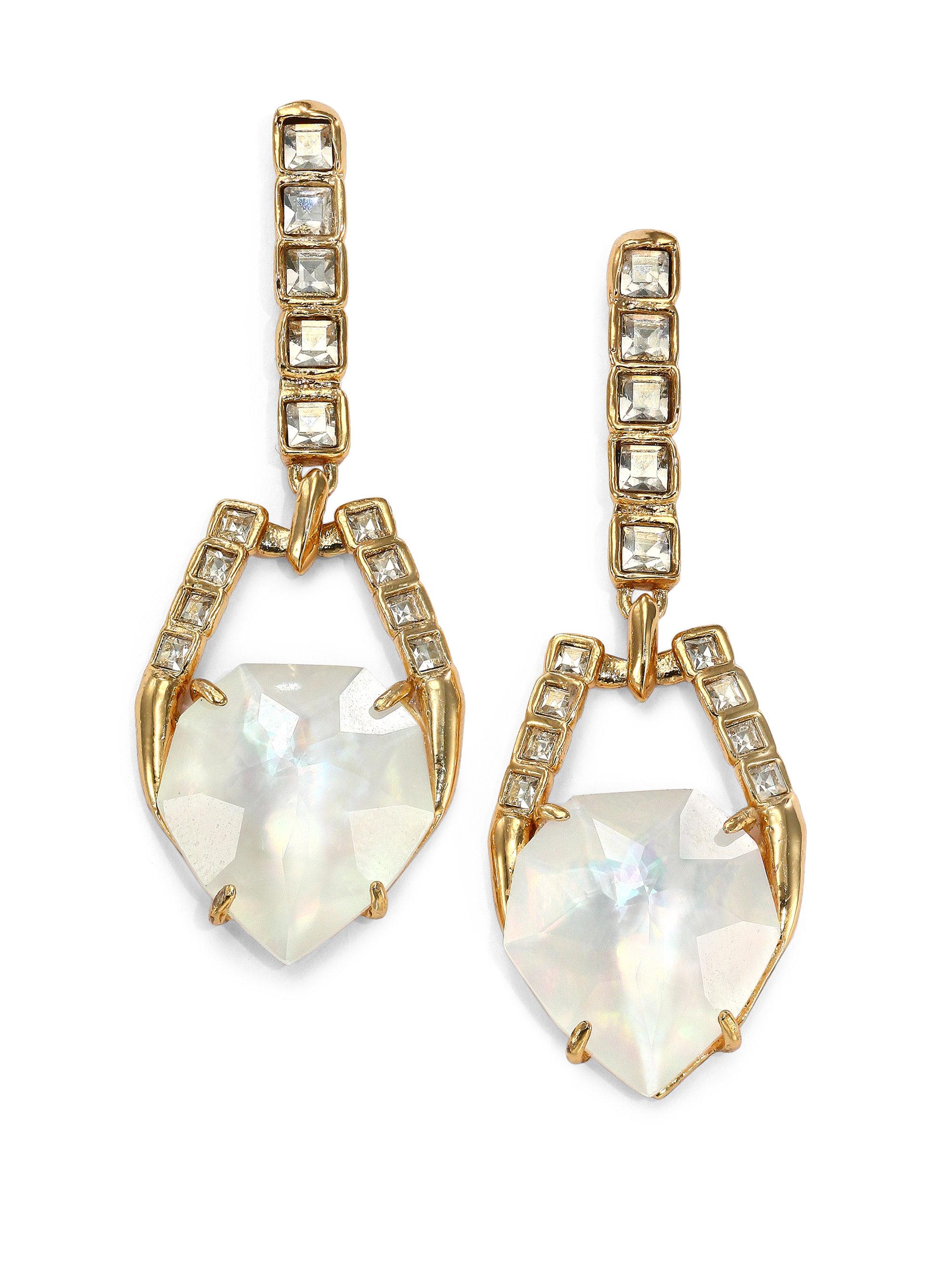 Alexis Bittar Mosaic Crystal Drop Earrings, Clear
