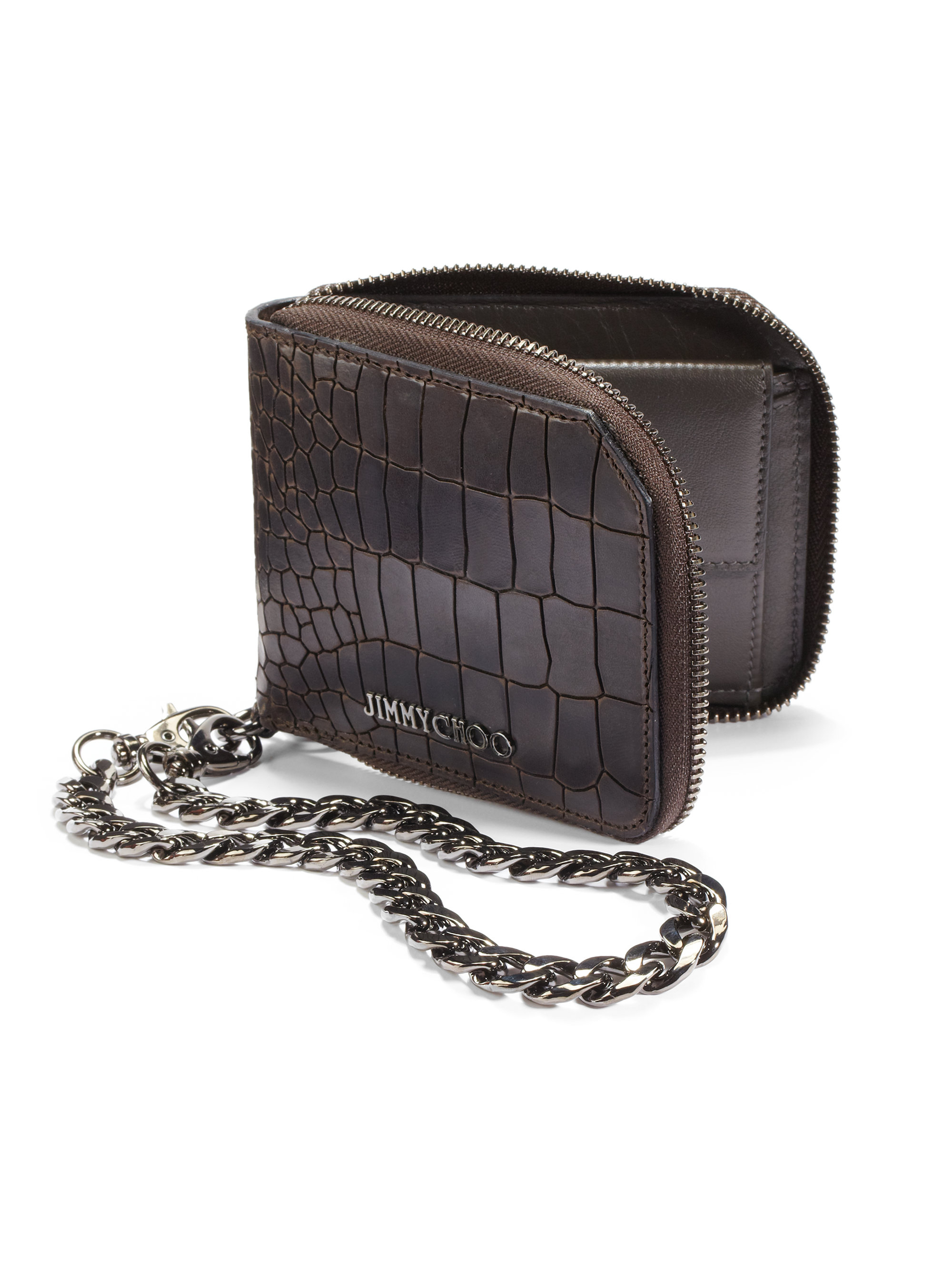 c5d3a2ffd02 Lyst Jimmy Choo Croc Embossed Chain Wallet In Brown For Men